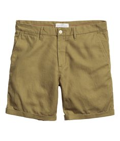 Twill shorts in a linen and cotton blend with a zip fly, side pockets, coin pocket, and welt back pockets with flap and button.  | H&M For Men