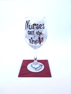 Nursing hand painted wine glass by CrystalsGlassDesigns on Etsy