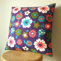 vintage fabric cushion cover in plum purple by pouch on Etsy, £25.00