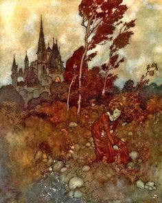 """Hans Christian Andersen. The Wind's Tale. Illustrated by Edmund Dulac. Toronto: Hodder and Stoughton, 1900.   The story is told from the perspective of the Wind, as it observes and helps a struggling family as they face life's many hardships (excerpt from Children's Literature Archive - Ryerson University) –""""I used to meet her in the garden""""– Anna Dorothea picking flowers – figure 1."""