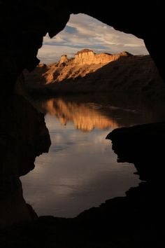 Last light on Desolation Canyon, UT.  Looking through a hole in the bluff.