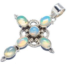 """Natural Ethiopian Opal Cross 925 Sterling Silver Pendant 2"""" PD542299"""
