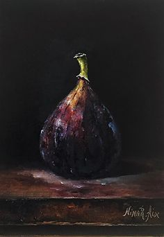Fig Original Oil Painting Still Life by Nina R.Aide Original Fine Art Fruit Small Painting Traditional Classic Art Chiaroscuro by NinaRAideStudio on Etsy Oil Pastel Techniques, Acrylic Painting Techniques, Oil Pastel Art, Oil Pastel Drawings, Oil Pastels, Oil Pastel Landscape, Vegetable Painting, Fruit Painting, Grape Painting