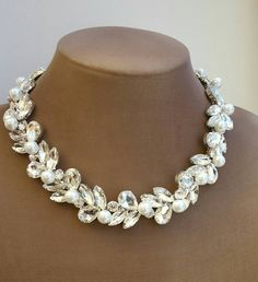Check out this item in my Etsy shop https://www.etsy.com/ca/listing/501719167/glass-crystal-pearl-necklace-rhinestone