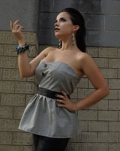Seattle Gabardine Top $47 #fashion #shopping #design #etsy #top #strapless #blouse #retro #gray #black #madmen