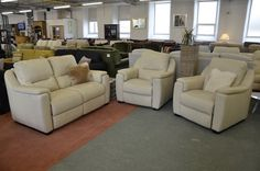 Leather Sofas & Suites : Avola 2 Seater Sofa and 2 Armchairs All Electric Reclining 3 Piece Suite