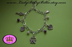 Love Charm Bracelet with Love Charms and Dangle by LadyBByBillie