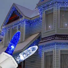 70 LED Blue and White Icicle Lights on White Wire