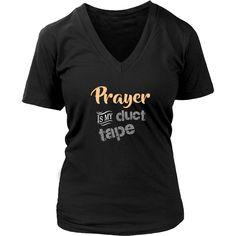 Prayer Is My Duct Tape (Peach) - Women's Short Sleeve V-Neck T-Shirt