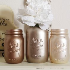 3- Hand Painted Mason Jars Flower Vases-Metallic Colllection via Etsy.