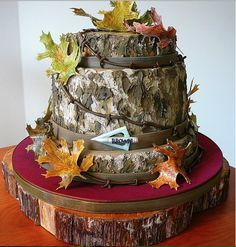 Hunting theme cake. Perfect for a bow Hunter. I'd make a bow as a cake topper though.