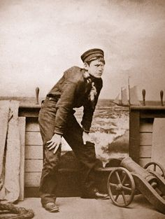 """Photograph of twelve year old Fred Cressy as Dick Deadeye in an unauthorized American juvenile production of """"H. M. S. Pinafore"""" in Brattleboro, Vermont.  Photo taken in July, 1879."""