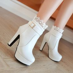 Cheap white booties, Buy Quality fashion booties directly from China ankle boots high heels Suppliers: Women Ankle Boots High Heels Boots Platform Shoes womens Fashion Lace Buckle Thin Heel Boots Womens Spring Autumn White Booties Pretty Shoes, Beautiful Shoes, Cute Shoes, Me Too Shoes, Platform High Heels, High Heel Boots, Shoe Boots, Shoes Heels, Ankle Boots