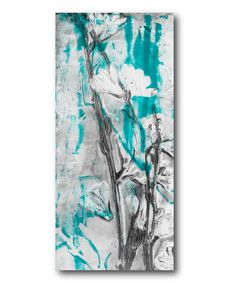 Another great find on #zulily! Turqoise & Gray Floral II Wrapped Canvas by Courtside Market #zulilyfinds
