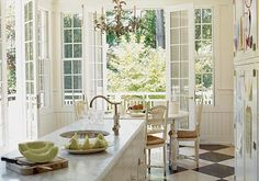 French doors in kitchen