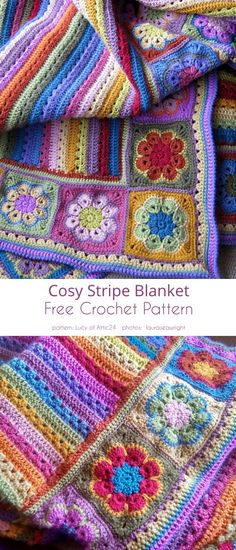 Afghan Crochet Patterns, Crochet Squares, Crochet Motif, Crochet Baby, Free Crochet, Knitting Patterns, Patchwork Blanket, Patchwork Quilting, Quilts