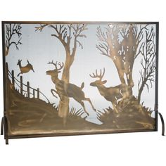 44 Inch W X 31.5 Inch H Deer On The Loose Fireplace Screen