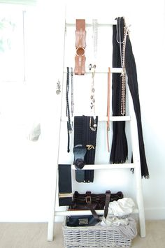 Dishfunctional Designs: Old Ladders Repurposed As Home Decor. Great for scarves!