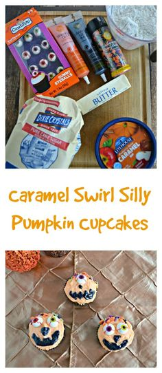 Caramel Swirl Silly Pumpkin Cupcakes -{ad} Hezzi-D's Books and Cooks Spooky Halloween, Fun Halloween Treats, Halloween Party, Cupcake Bakery, Cupcake Cookies, Kid Cupcakes, Halloween Cupcakes, Pumpkin Recipes Kid Friendly, Strudel