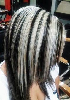 hair highlights Hair Color Highlights And Lowlights Chunky Haircolor New Ideas Gray Hair Highlights, Hair Streaks, Colored Highlights, Chunky Blonde Highlights, Gray Streaks, Brown Bob Hair, Dark Hair, Grey Hair, Hair Color And Cut