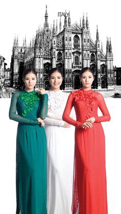 "Ao Dai grand show. Hue Festival 2014. ""The world reflected in the Ao Dai"". Designer: Vu Viet Ha. Photo: Hai Dong. Model: Ngoc Han"