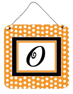 Letter O Initial Monogram - Orange Polkadots Wall or Door Hanging Prints