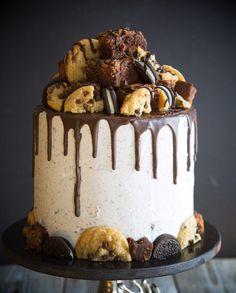 Oreo chocolate chip cookie brownie cake