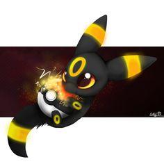 umbreon [done with medibang paint on Samgung Galaxy tablet] pokemon, umbreon, cute, digitalart, eevee, evoli, nachtara