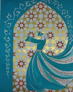 Original Painting Whirling Dervish Sufi Dance Rumi Miniature by AEDesignHouse on Etsy Whirling Dervish, Bagdad, Arabesque, Turkish Art, Stencils, Arabic Art, Foto Art, China Painting, Islamic Calligraphy