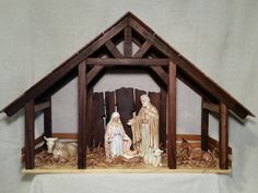 Reclaimed Wood Nativity Stable Creche Handcrafted Manger Barn with side pens - Krippe Christmas Crib Ideas, Etsy Christmas, Christmas Wood, Christmas Projects, Christmas Decorations, Xmas, Nativity House, Nativity Creche, Nativity Stable