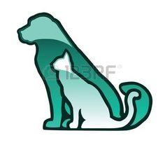 vétérinaire: Silhouettes de boutons de verre pour chiens et chats isolé sur blanc Illustration