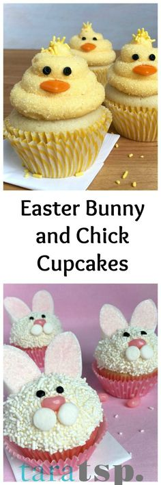 Make these sweet little Easter Bunny and Chick Cupcakes for your spring celebration.