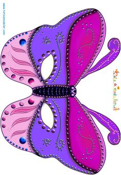 Paper toy: Butterfly mask in pink and purple on modeling head Printable Masks, Unicorn Printables, Free Printable, Printable Templates, Butterfly Mask, Butterfly Party, Paper Toys, Paper Crafts, Sofia The First Birthday Party