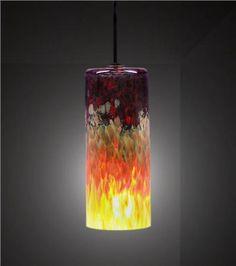 Carnelian Cylinder Blown-Glass Pendant Light, $475 on www.artisancraftedlighting.com