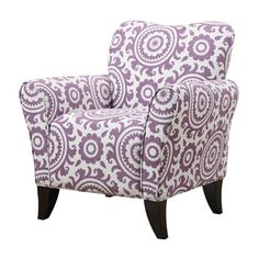 Portfolio Seth Amethyst Purple Medallion Curved Back Arm Chair | Overstock.com Shopping - Great Deals on PORTFOLIO Living Room Chairs