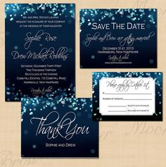 Affordable! Night Sky Printable Save the Date, Invitation, RSVP, and Thank You Suite - Instant Download. $44.00, via Etsy.