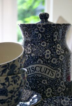 Blue and white cookie jar and tea cups. It just makes you want to stop and have a quiet moment.