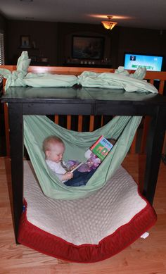 How to Make a baby Hammock under the table with king sized sheets