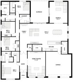 I like this layout - would get rid of the walk in robe in 4th bedroom to make bathroom bigger for sink and get rid of rumpus room to make bigger alfresco Floor Plan 4 Bedroom, Bathroom Floor Plans, 4 Bedroom House Plans, Dream House Plans, House Floor Plans, Granny Flat Plans, Mantel, Home Design Plans, New Home Designs