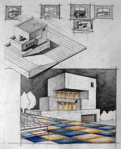 Modernist House Next to Slope.  Always use both the axo and perspective as form generators for your final design. Pencil + Colored Crayons on 50x70 Standard Paper, 5 Hours Completion Time #architecture #architect #rendering