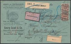Germany, German Empire, German Reich 1889, crown / eagle, 50 Pfg. in the vertical pair, being a multiple franking on package card from Frankfurt to Bordeaux, cash on delivery, with railway mail transported, various transit cancellation, cum coupon, traces (Michel. No. 50 multiple franking). Price Estimate (8/2016): 20 EUR. Unsold.