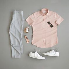 Keeping it light and bright with this blush shirt. This is definitely one of my favourite outfits . . . . . . . . . . . #commonprojects #commonprojectsachilles #maisonmargiela #replica #replicasneakers #tomford #tomfordsunglasses #reiss #topmanstyle #aesopskincare #aesop #outfitgrid #outfitinspo #mensstyle #mensoutfit #mensflatlay #menwithstyle #mensstyleguide #flatlay #flatlayfashion #fashionflatlay #flatlaystyle