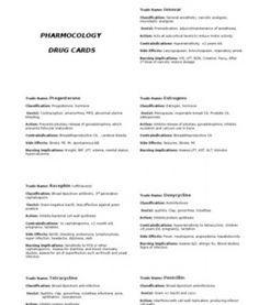 drug card template | Nursing | Pinterest | Drug cards, Card ...