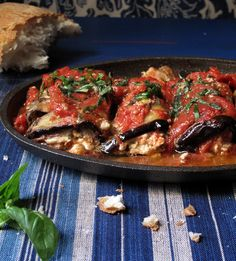 Eggplant Rolls with Goat Cheese and Tomatoes