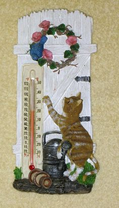 Cute Resin Cat Kitten Thermometer  Approx size is 8 1/2 inches tall and 4 inches wide. nb