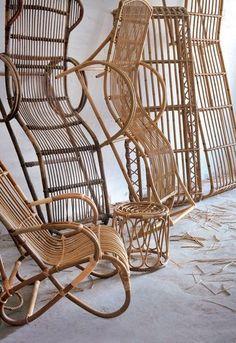 Rattan Design: The Return of the Rattan in the Decor - Bamboo furniture - Design Rattan Furniture Cane Furniture, Bamboo Furniture, Furniture Layout, Garden Furniture, Furniture Design, Outdoor Furniture, Furniture Nyc, Furniture Outlet, Discount Furniture