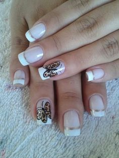 This article is about 35 original and beautiful images of French manicure variations. This type of nail art design can vary from being simple to complex. Fancy Nail Art, Fancy Nails, Love Nails, Pretty Nails, My Nails, Crazy Nails, Leopard Nails, Striped Nails, French Manicure Nails