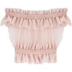 Alexander McQueen Silk Chiffon Bardot Top ($1,305) ❤ liked on Polyvore featuring tops, rose, flounce tops, flutter-sleeve top, pink top, alexander mcqueen and silk chiffon top