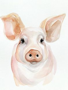 Excited to share this item from my shop: Charlottes Friend Watercolor Pig PRINT Watercolor Paintings Of Animals, Farm Paintings, Flower Painting Canvas, Canvas Painting Tutorials, Animal Paintings, Watercolor Print, Watercolor Ideas, Pig Crafts, Pig Art