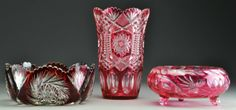 (3) Pcs Bohemian Ruby & Cranberry Cut to Clear Glass : Lot 173